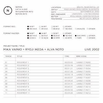 Vainio, Ryoji Ikeda & Alva Noto, Mika: Live 2002 [LP]