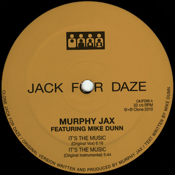 """Murphy Jax & Mike Dunn: It's The Music - incl. remixes par Legowelt & Alden Tyrell [12""""]"""